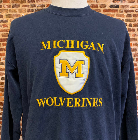 Vintage 90's MICHIGAN WOLVERINES Men's Large Crewneck Sweatshirt RARE made by Nutmeg Mills