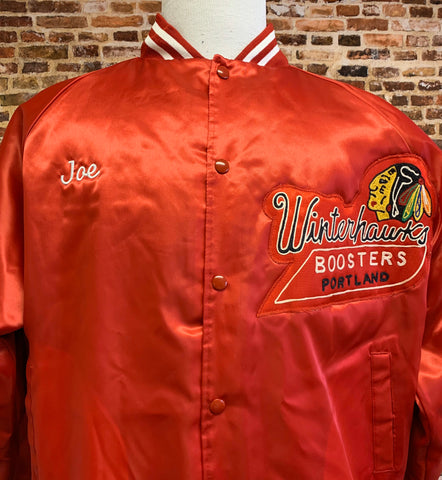 Vintage PORTLAND WINTERHAWKS Hockey Men's XL Satin Bomber Jacket Rare