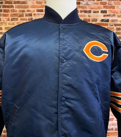 Vintage 80's CHICAGO BEARS Men's XL Satin Bomber Jacket Rare made by Starter
