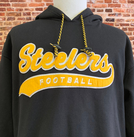 Vintage 90's PITTSBURGH STEELERS Men's Large Script Hoodie Sweatshirt RARE made by Starter