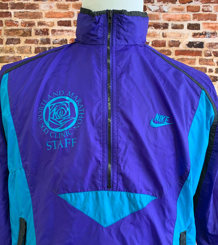Vintage 90's Nike PORTLAND MARATHON STAFF Men's Medium Color Block Windbreaker Jacket Rare Rare