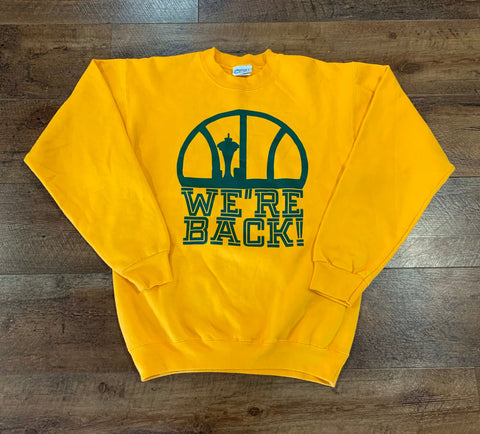 "Vintage Seattle SUPER SONICS ""We're Back"" Men's Small Crewneck Sweatshirt RARE"
