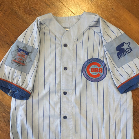 Vintage 90's Starter CHICAGO CUBS Men's Large Custom Dyed Denim Button Up Baseball Jersey