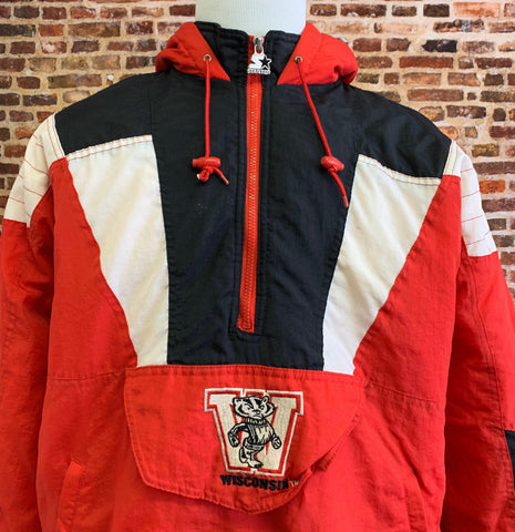 Vintage 90's WISCONSIN BADGERS Men's XL Half Zip Pullover Puffer Jacket Rare made by Starter