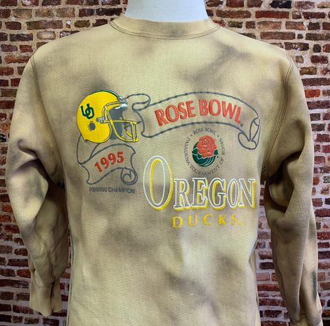 Vintage OREGON DUCKS Football 1995 Rose Bowl Custom Dyed Men's Large Crewneck Sweatshirt RARE made by Champion