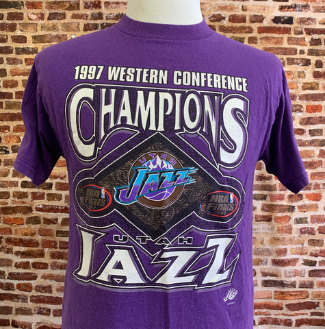 Vintage Utah Jazz 1997 Western Conference Champions Men's Medium Tee RARE made by Logo 7