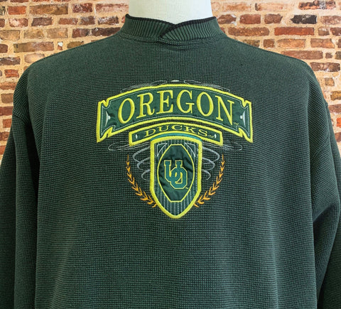 Vintage 90's OREGON DUCKS Men's Large Embroidered Pullover Crewneck Sweatshirt RARE made by Cadre