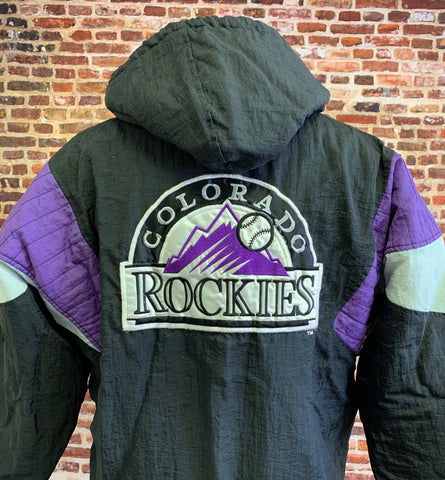 Vintage 90's COLORADO ROCKIES Men's Small Half Zip Pullover Puffer Jacket RARE made by Starter
