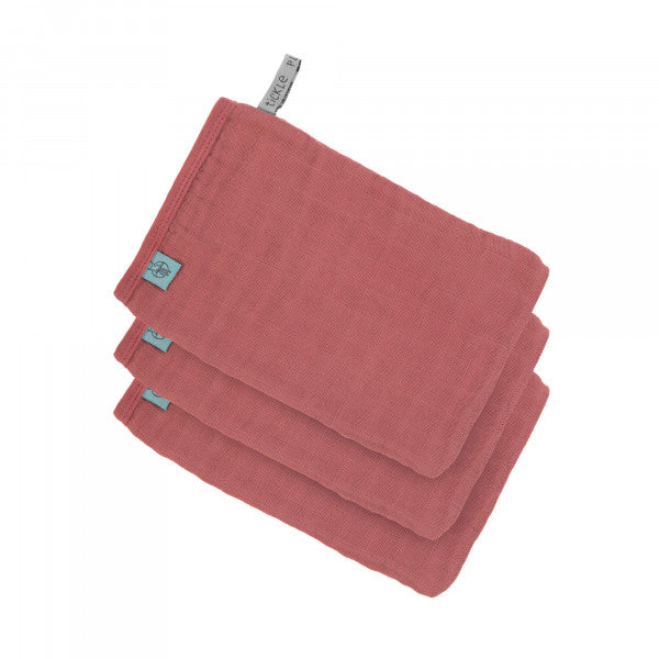 Lot de 3 gants de toilette en mousseline, bois de rose