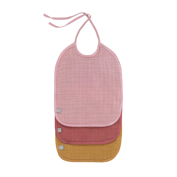 Lot de 3 bavoirs medium en mousseline, rose