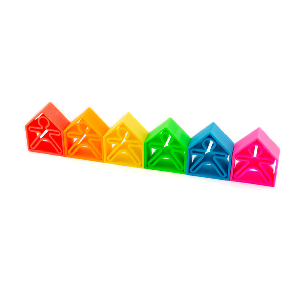 Pack 6 Kids 6 Houses neon