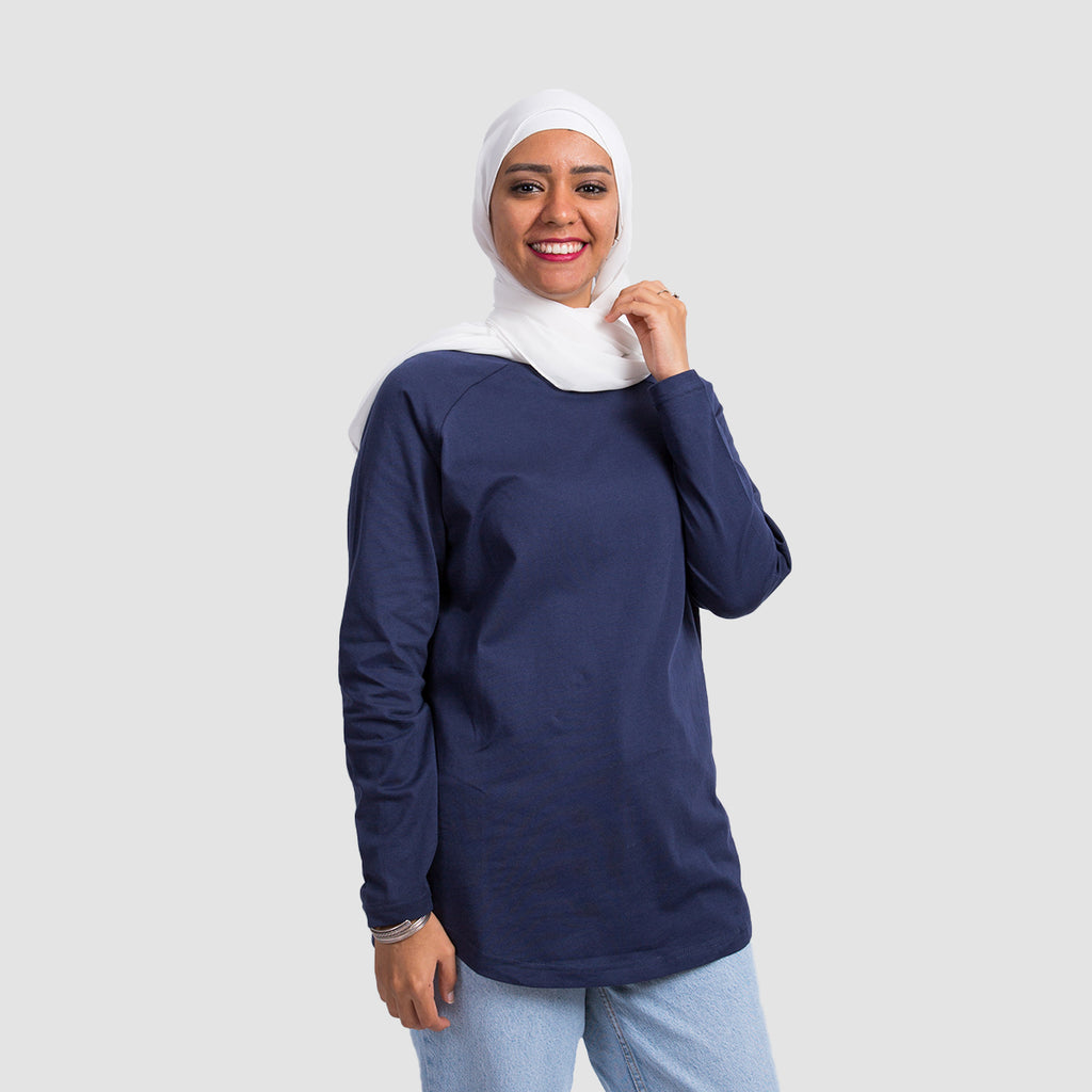 Basic Long Sleeve Shirt - Navy Blue