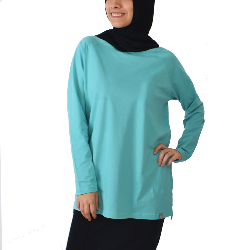 Basic Long Sleeve Shirt - Blue Turquoise