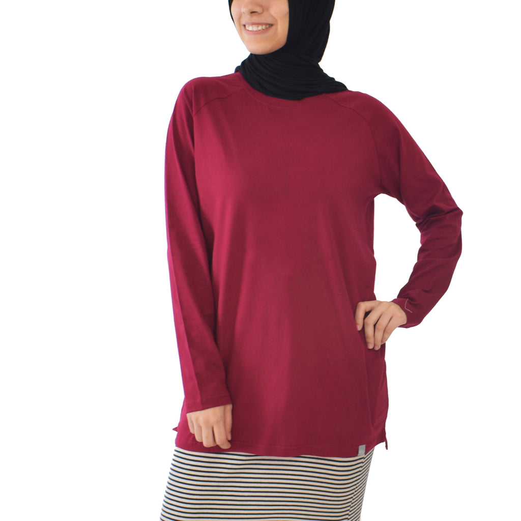 Basic Long Sleeve Shirt - Beet Red