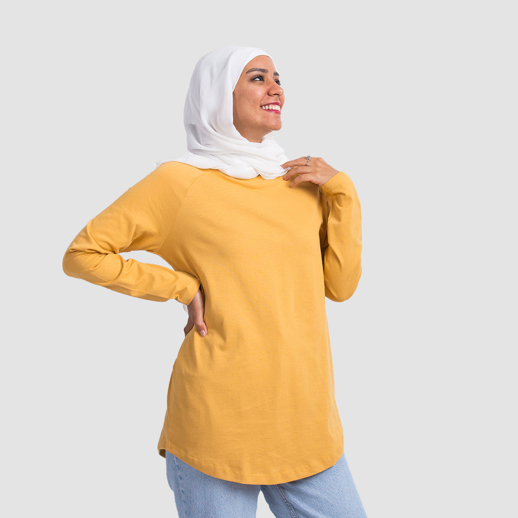 Basic Long Sleeve Shirt - Mustard