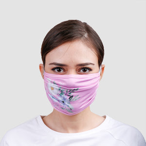 Pink Flowers Overhead Face Mask