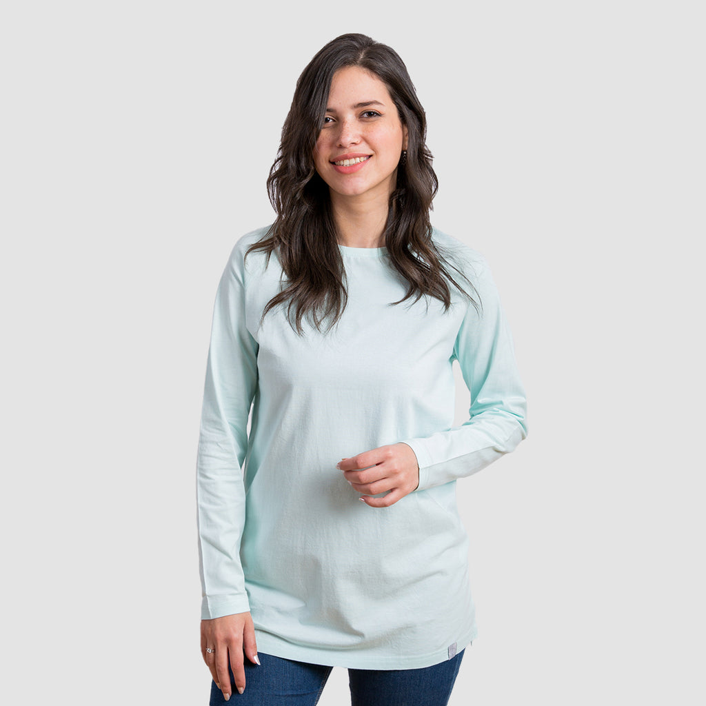 Basic Long Sleeve Shirt - Bleached Aqua