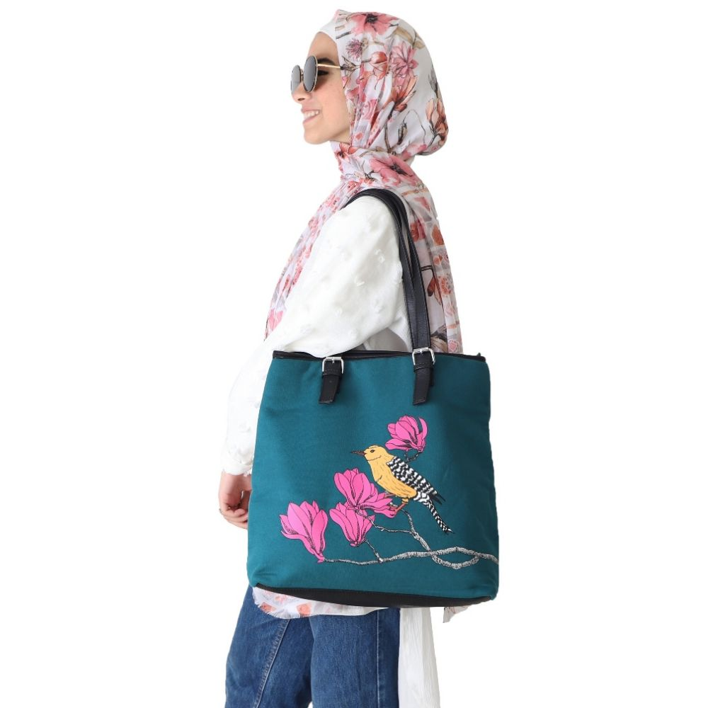 Pink Bird - Melton Handbag