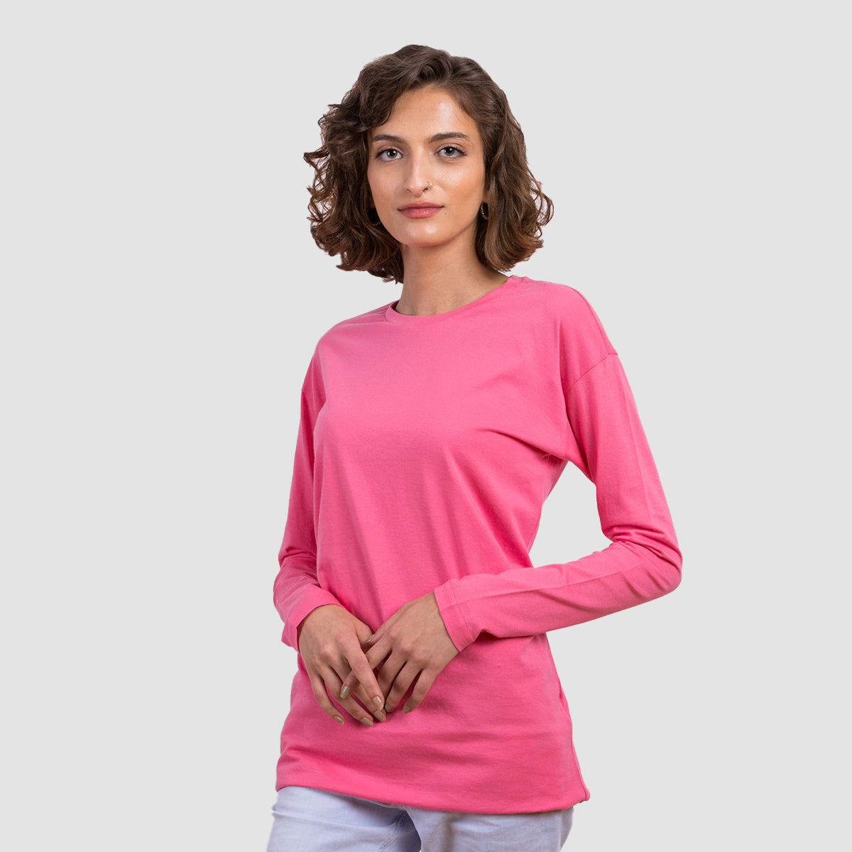 Basic Long Sleeve Shirt - Azalea