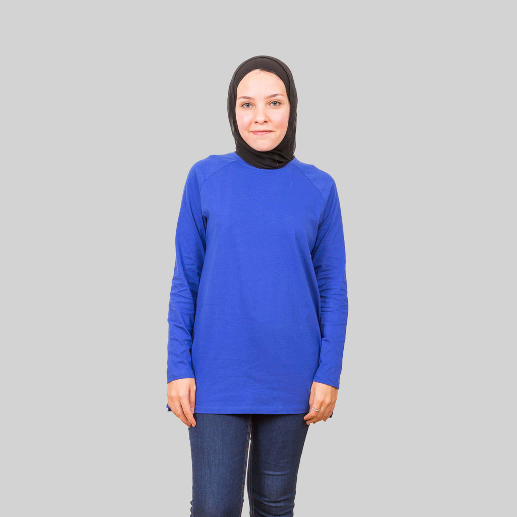 Basic Long Sleeve Shirt - Clematis Blue