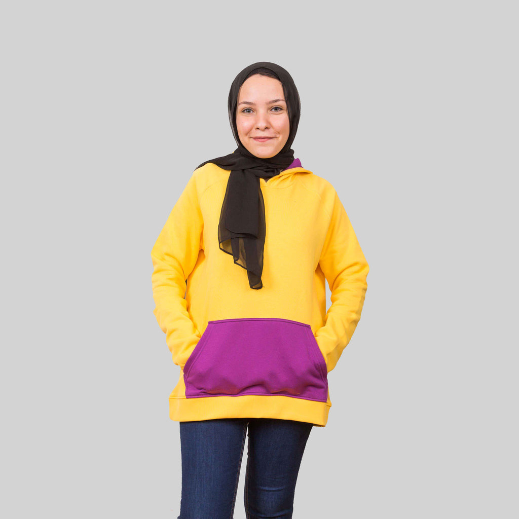 Contrast Yellow Hoodie