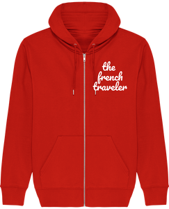 Sweat Zip Capuche - THEFRENCHTRAVELER - Coton Bio - Brodé - The French Traveler Store