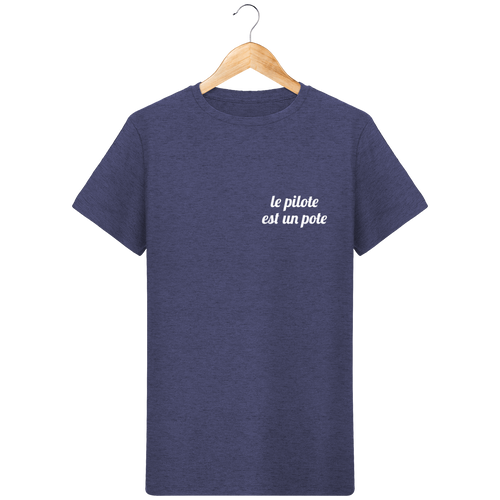 T-Shirt Col Rond - THEFRENCHTRAVELER - Coton Bio - Brodé - Le Pilote est un Pote - The French Traveler Store