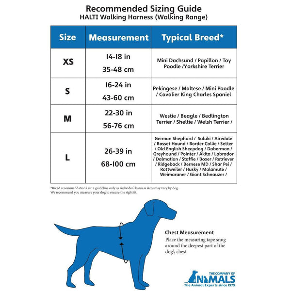 Halti Walking Harness Size Guide