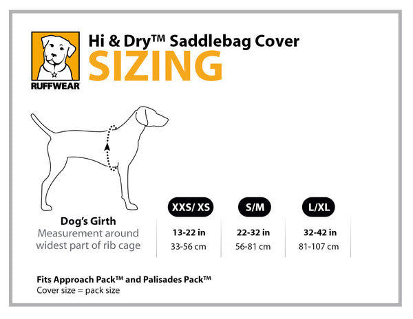 Ruffwear Hi & Dry Saddlebag Cover Size Guide | Barks & Bunnies