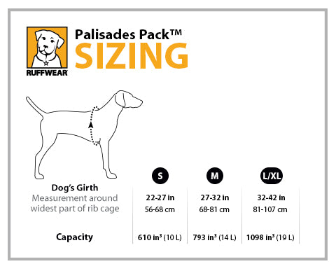 Ruffwear Palisades Pack Size Guide | Barks & Bunnies
