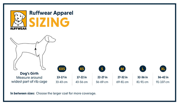 Ruffwear Swamp Cooler Coat Size Guide | Barks & Bunnies
