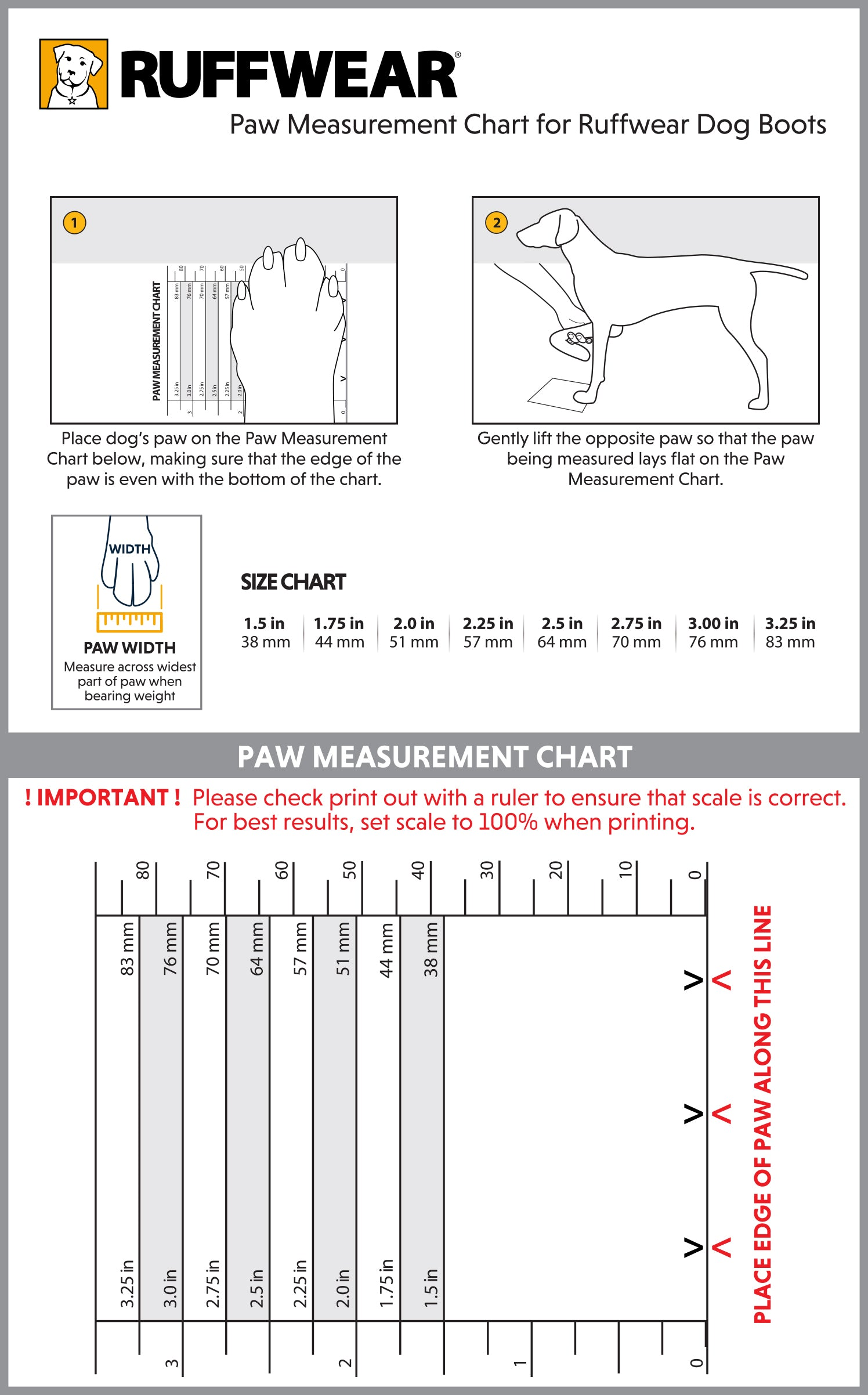 Ruffwear Paw Measurement Chart for Ruffwear Dog Boots