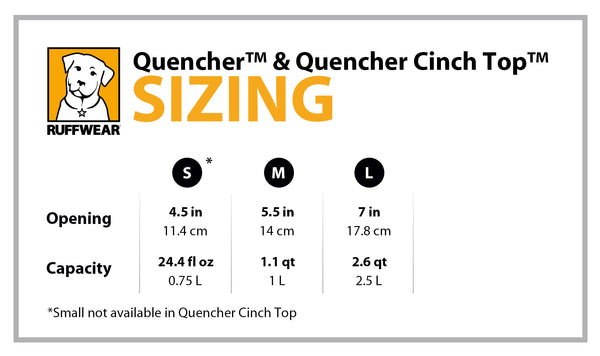 Ruffwear Quencher Cinch Bowl Size Guide | Barks & Bunnies