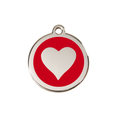 Red Dingo Heart Dog ID Tag, Enamel & Stainless Steel | Barks & Bunnies