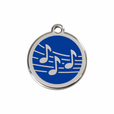 Red Dingo Music Notes Dog Tag, Enamel Pet ID Tag UK | Barks & Bunnies