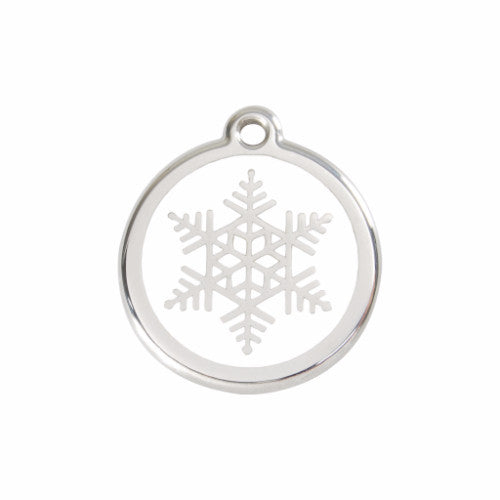 Red Dingo Snowflake Dog ID Tag, Enamel & Stainless Steel | Barks & Bun...