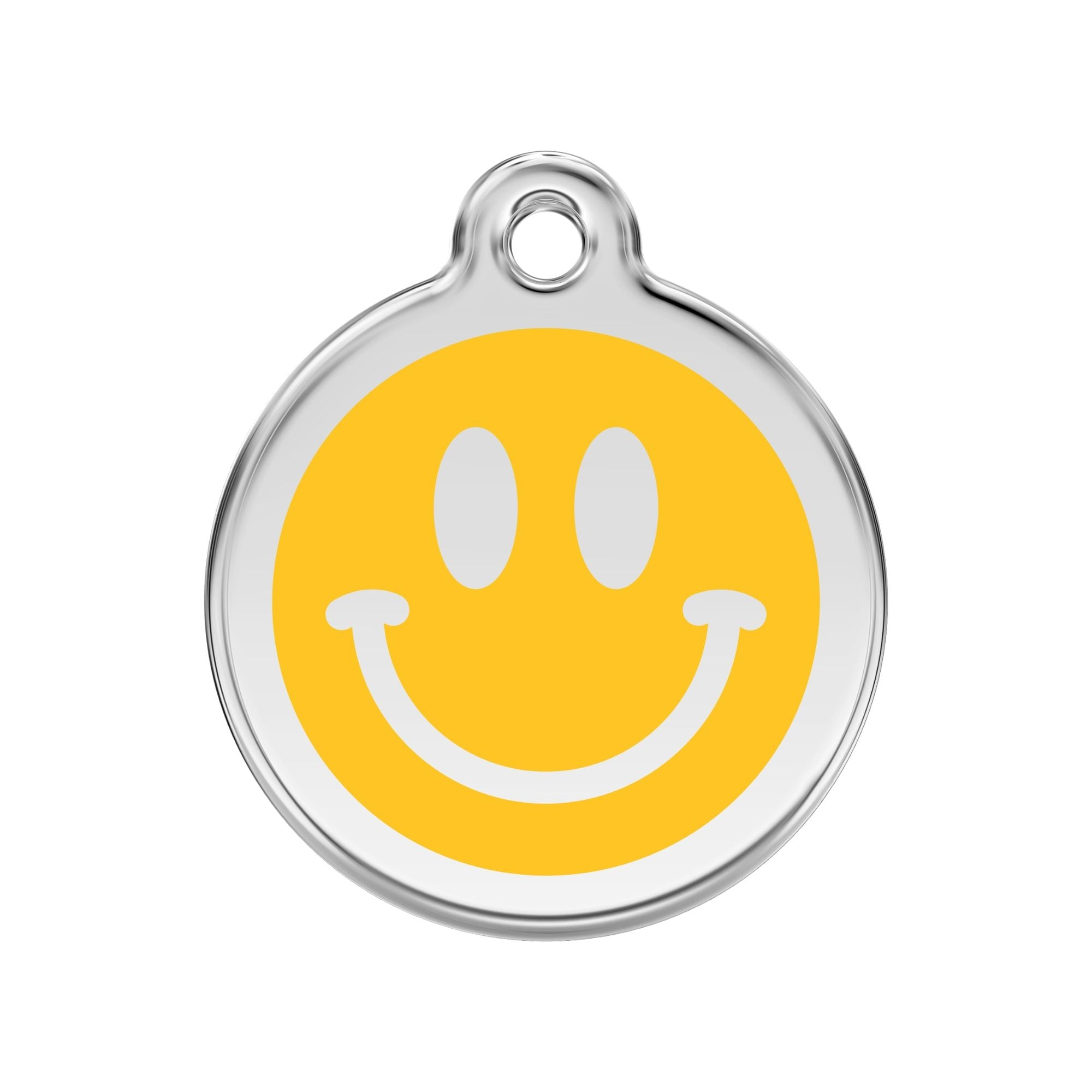 Red Dingo Smiley Face Dog Tag, Enamel & Stainless Steel | Barks & Bunnies