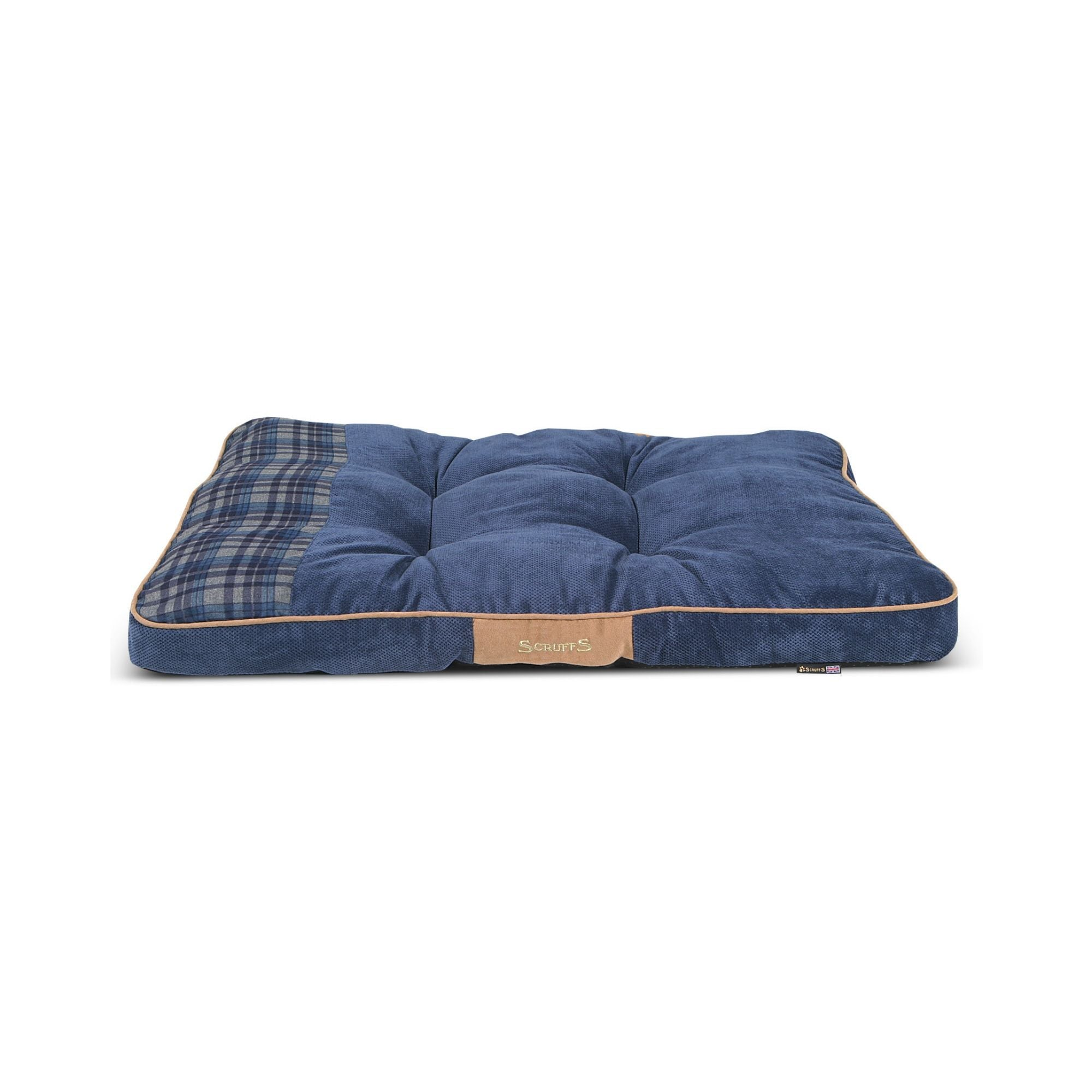Scruffs Highland Mattress, Blue Tartan Pet Dog Bed | Barks & Bunnies