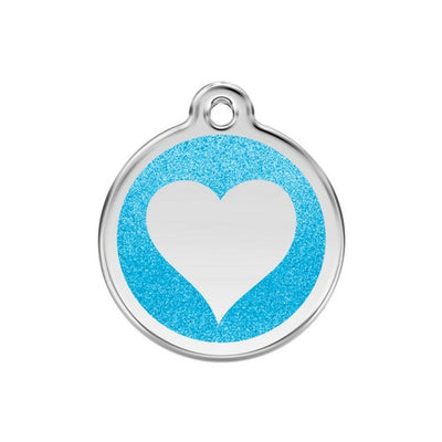 Red Dingo Glitter Heart Dog Tag, Enamel Pet Tag UK | Barks & Bunnies