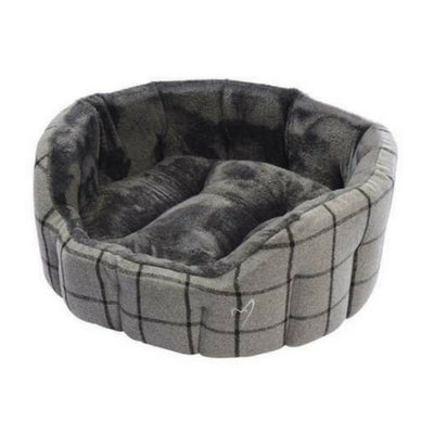 Gor Pets Camden Deluxe Bed Grey Check, Luxury Dog Bed | Barks & Bunnies