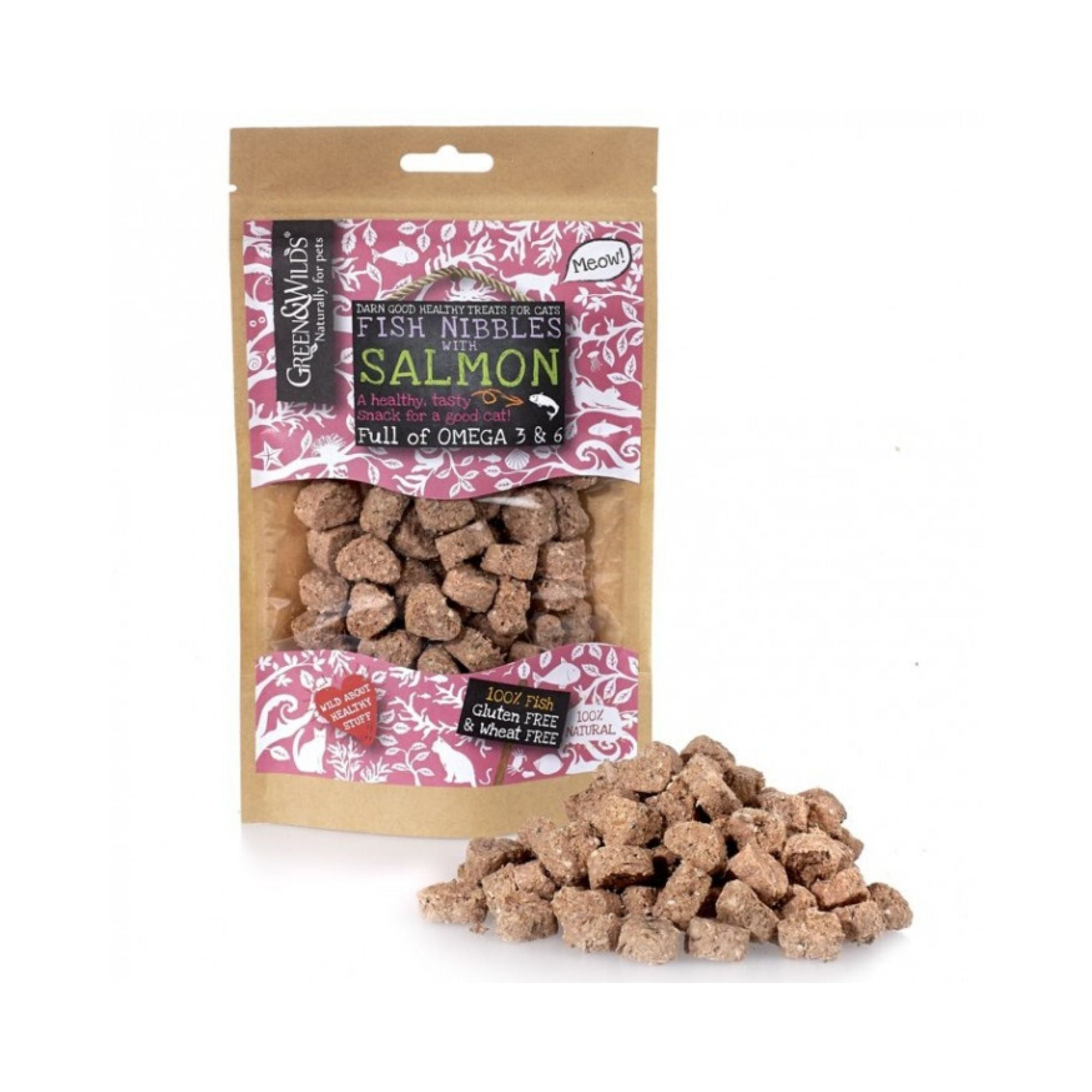 Green & Wilds Fish Nibbles with Salmon for Cats, Cat Treats | Barks & Bunnies