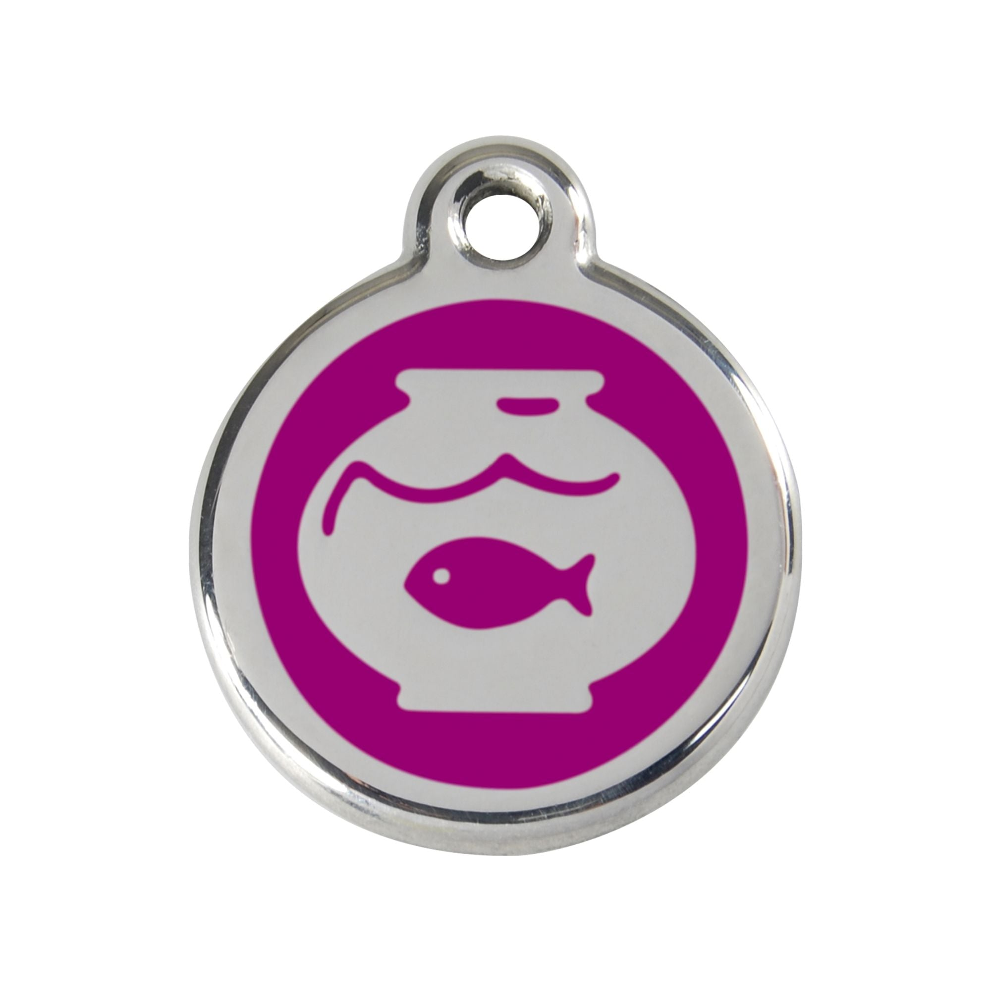 Red Dingo Fish Bowl Cat Tag, Enamel Pet Tag UK | Barks & Bunnies