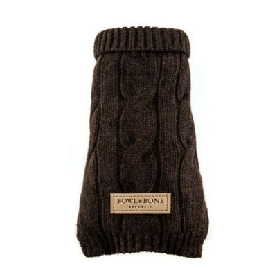 Bowl & Bone Aspen Pullover Brown, Warm Wool Dog Coat | Barks & Bunnies