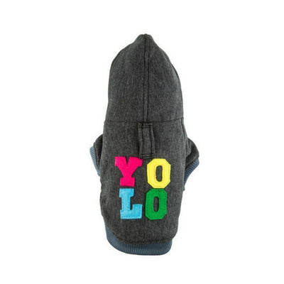 Bowl & Bone Republic YOLO Hoodie Dog Coat Graphite | Barks & Bunnies