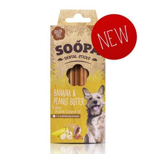 Soopa Banana & Peanut Butter Dental Sticks, Natural Dog Chew | Barks & Bunnies