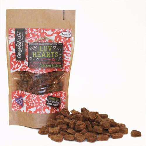 Green & Wilds Chicken & Liver Luv Hearts Grain Free Dog Treats | Barks & Bunnies