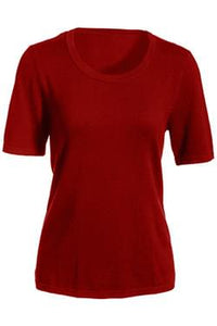 Scoop Neck Cotton Sweater Red