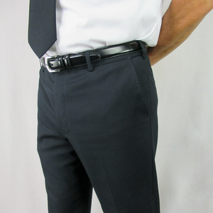 Cody Flat Front Comfort Fit Sharkskin Black Pants