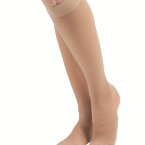 Nude Closed Toe Knee High Compression Stockings
