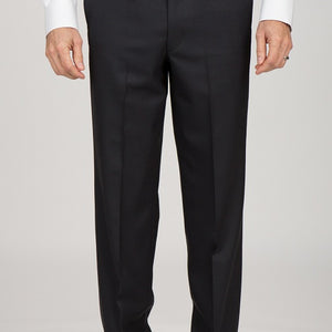 Flat Front Regular Sharkskin Black Pants